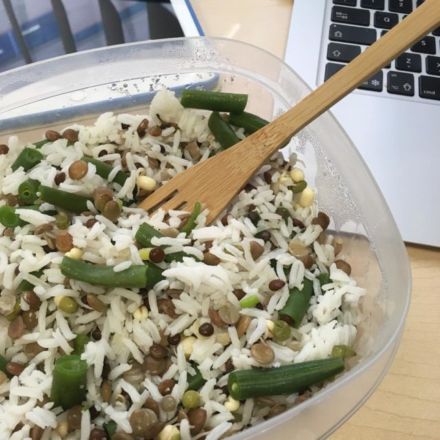 Working lunch  white basmati rice green beans sprouted lentilshellip