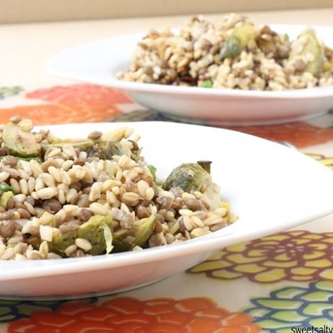 New ontheblog! Oats Groats Lentil amp Roasted Brussels Sprouts Saladhellip