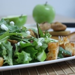 Goat Cheese and Fruit Salad with Homemade Croutons