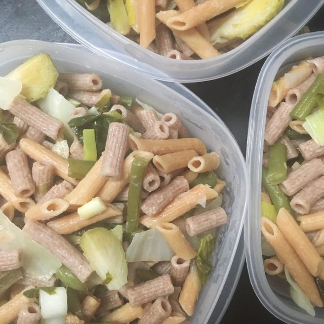 Lunch prepped for the next 3 days spelt pasta redhellip