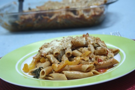 spinach, tomato and roasted pepper penne bake