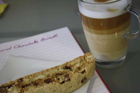Almond Chocolate Biscotti with Latte