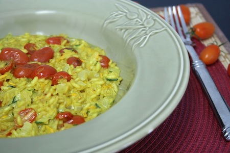 Curried Zucchini and Roasted Grape Tomato Risotto