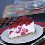 No-Bake Raspberry and Hazelnut Cheesecake slice