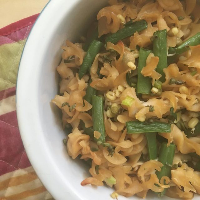 Red lentil pasta green beans green onion mung bean sproutshellip
