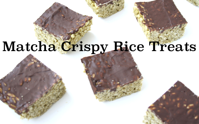 Matcha Crispy Rice Treats (vegan, gluten-free, oil-free)
