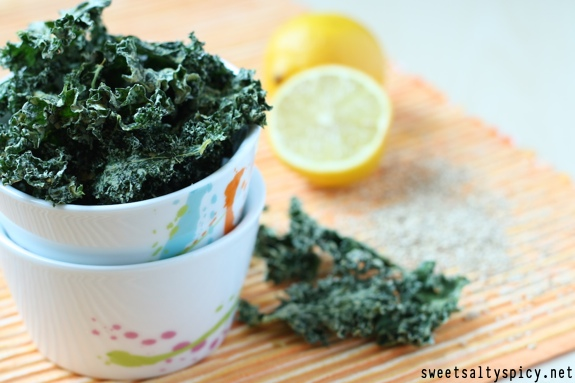 Raw Vegan Lemon Tahini Kale Chips