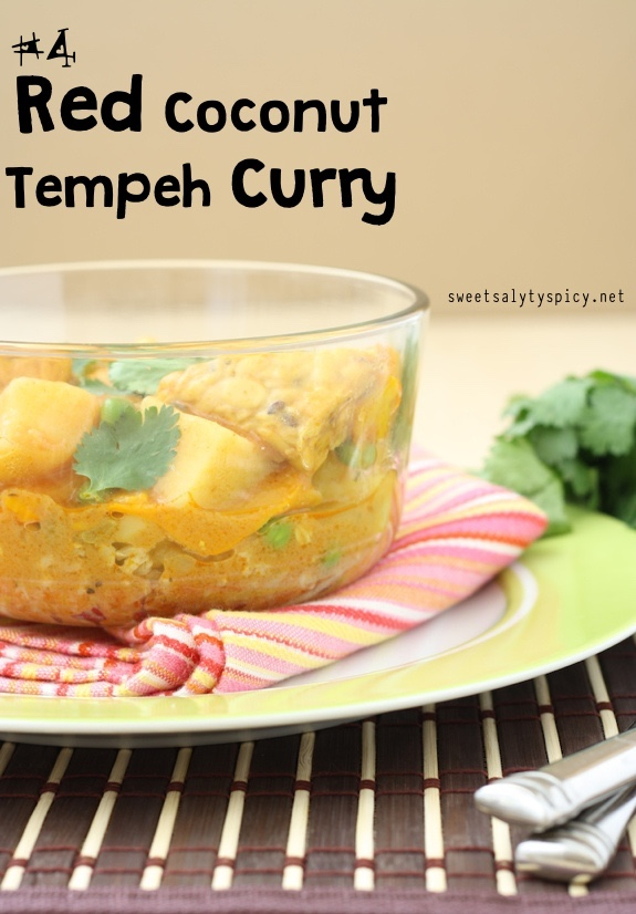 4 Red Coconut Tempeh Curry - Vegan GlutenFree OilFree
