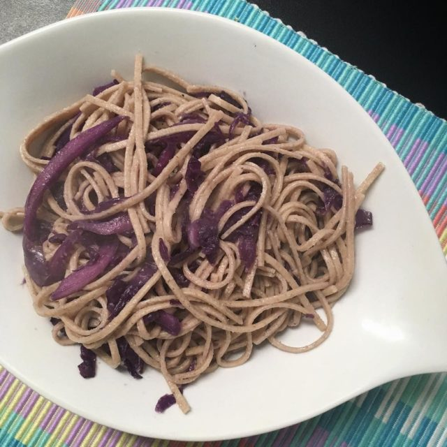 Spelt udon noodles with garlic and sauted red cabbage veganhellip